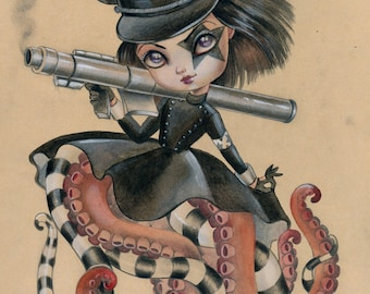 Octobrat Lea LIMITED EDITION print signed numbered Simona Candini lowbrow pop surreal  big eyes octopus doll girl weapon bazooka