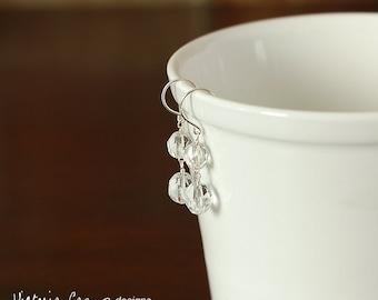 Vintage Glass Wedding Earrings, Sterling Silver Hooks, Bridal, Drop, Dangle, Eco Friendly, Winter Wedding