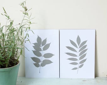 A4 posters, with botanical print of leaves from my garden. Choose your color.