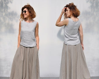 Linen skirt. Full skirt. Circle skirt. Maxi skirt. Skirt with pockets. Floor length skirt.  Summer skirt. High waist  gypsy skirt.Flax skirt