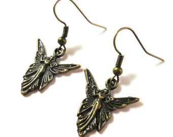 Bronze Fairy Earrings, Faerie Earrings, Affordable Gifts Under 5 Dollars, Butterfly Fairy Charm Earrings, Fantasy Jewelry, Mythical Jewelry