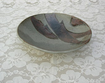 "Artisan Glazed Ceramic Bowl, handcrafted stoneware, bold design, 8"" diameter, vintage, like new"