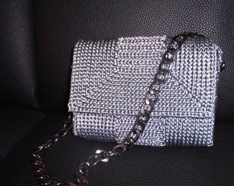 Pochette grey piping-handmade-crochet on net-steel-strap satin lining same color
