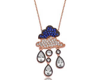 Rain Cloud Silver Necklace - IJ1-1552
