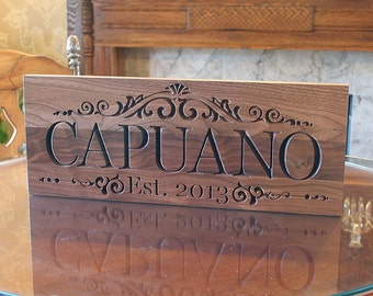 Wedding Date Sign, 5th Anniversary Sign, Personalized Sign, Custom Wedding Date Sign, Benchmark Custom Signs, Walnut LM