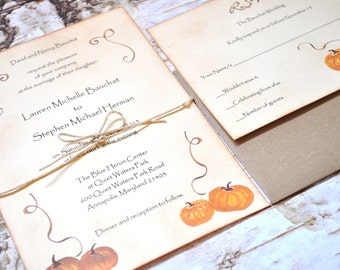 Pumpkin Wedding Invitations, Rustic Wedding Invitations, Invites, Fall Wedding Autumn Wedding