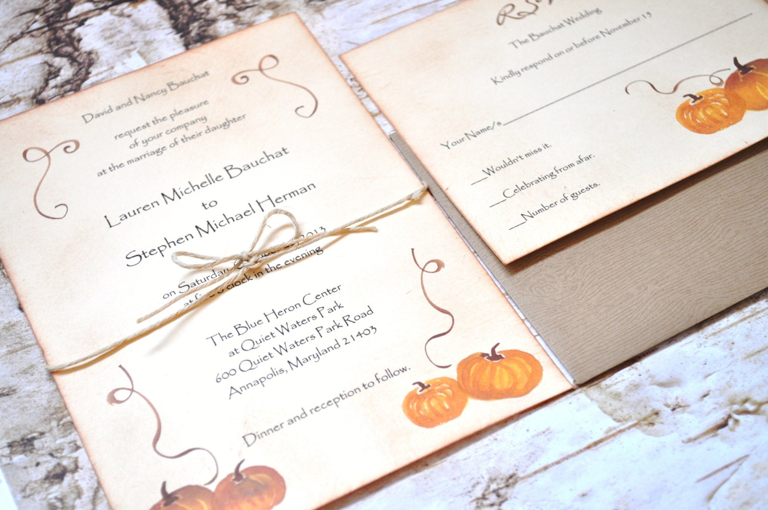 Pumpkin Wedding Invitations Rustic Wedding Invitations