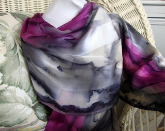 Scarf, Silk, Women, Hand Dyed, Elegant Love Silk Scarf, Charcoal Purple White