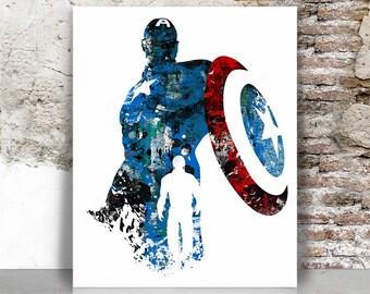 Captain America print, Captain America poster, Avengers print, Superhero print, Marvel print, wall decor, Gift for him, FamouStars