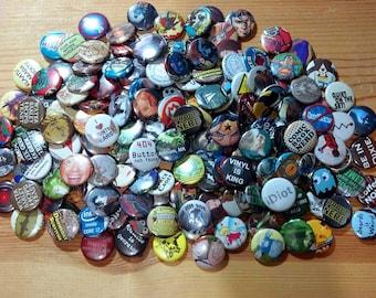 Pop Culture Button Grab Bags... 30 Random Pins....Recycled Art