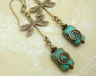 Turquoise Blue Dragonfly Earrings with Handmade Spiral and Glass Beads