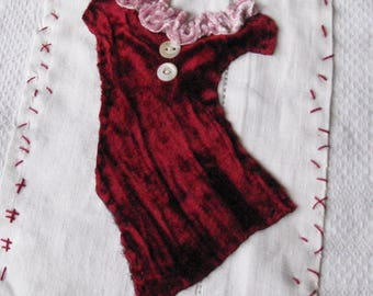 Small art quilt, Red Velvet Dress