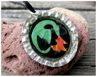Dragon bottlecap necklace, dragon pendant, dragon jewelry, fiery dragon jewelry, bottlecap jewelry