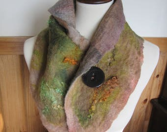 Alpaca Nuno Felted Scarf/Neckwarmer - Handmade from Alpaca and Other Fibers With Button