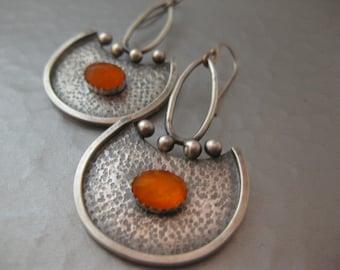 contemporary Sterling Silver Bright Orange Carnelian Earrings