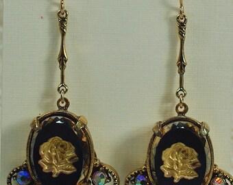 Vintage Intaglio Rhinestone Earrings, Vintage Victorian Revival Style Earrings, Gold Flower Earrings, 50's Intaglio Gold Earrings Under 25