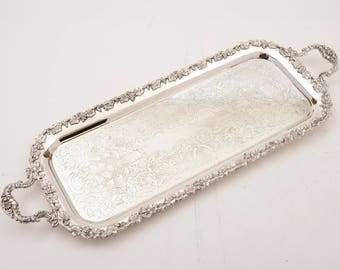 Silver Plated Oblong Serving Tray, Circa 1920