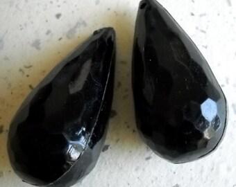 Black Faceted Drop Bead, Large Faceted Bulky Tear Drop Pendant, Vintage Acrylic Drops Earrings, Jet Black Drop Pendant Charm