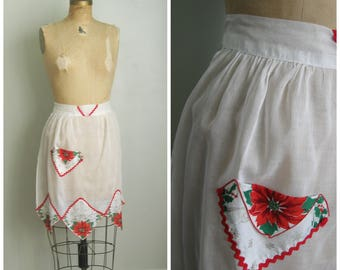 Vintage 1950's Poinsettia Half Apron// Sheer// White and Red// Holiday// Christmas