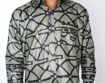 Vintage 90s Army Green and Black Ethnic Tribal Print Button Down Shirt with Border Print // Mens Vintage Shirt (sz L XL)