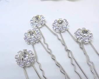 Bridal hair pins, wedding hair pins, rhinestone hair pins, bridesmaid hair pins, hair pins