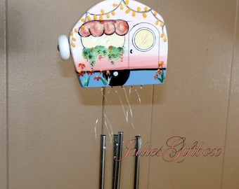 Small Camper Wind Chime-Solid Aluminum Chimes-Hand Crafted-OOAK-Travel Trailer