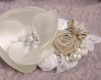 Romantic ivory bridal hair accessory, wedding hair accessory, bridal hair flower, wedding hair clip, bridesmaid hair clip in white and peach