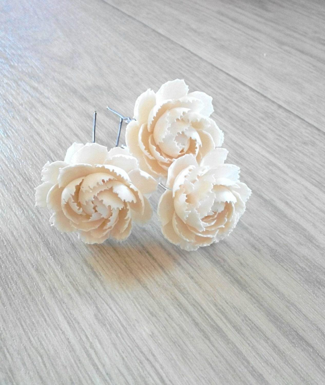 White Peony Hairpin Wedding Hairpin Wedding Jewelry