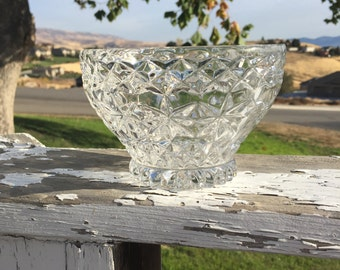"Lead Crystal Footed Bowl, 5-3/4"" diameter by 3-3/4"" tall, chip on rim"