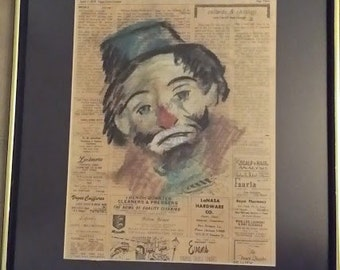 1970's Clown Charcoal Chalk Drawing on Newspaper