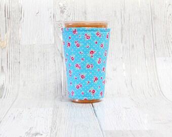 Weinlese-Blumen vereist Kaffee gemütlich, Kaffee Manschette, Kaffee gemütlich, Tasse Ärmel, blaue Tasse gemütlich