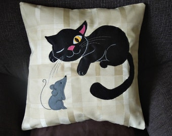 "Cat pillow, cushion cover ""Cat and Mouse"", appliqued, handmade, animal"