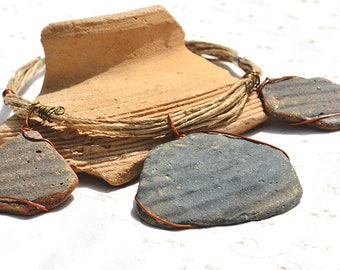 Ceramic Necklace. Big Brown Ancient Potsherd Necklace. Earthenware Tribal Necklace. Statement Ceramic Jewelry. Handmade Free Shipping Israel
