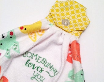 Easter Kitchen Towel, Yellow Towel, Button Top Towel, Easter Decor, Kitchen Tea Towel, Kitchen Tie Towel, Easter Bunny, Yellow Decor