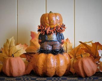 PUMPKIN HEAD- Primitive Paper Mache Folk Art Halloween Decoration
