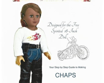 Original CHAPS DOLL PATTERN for 18-inch dolls created by Rhinestones to Rubies. Paper pattern. Two Bonus gifts.