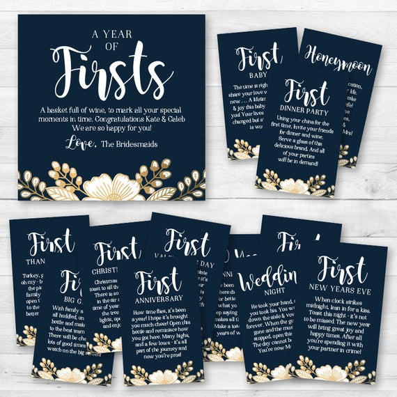 Wine Firsts Wedding Gift: A Year Of Firsts Wine Gift Basket Tags Bridal Shower Wine