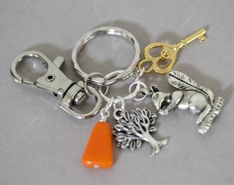 Mixed Metal Squirrel Charm Key Ring, Tree of Life Key Ring, Antique Pewter Key Ring, Key Holder, Purse Charms, Orange Purse Key Ring