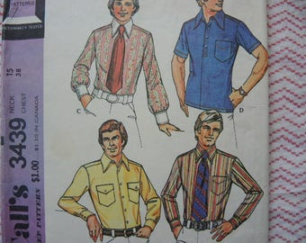 vintage 1970s McCalls sewing pattern 3439 Mens' button front shirt neck 15 chest 38
