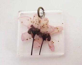 Dried Cherry Blossom Flower Resin Pendant