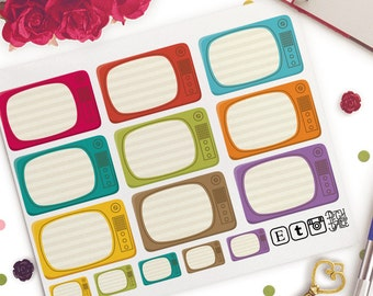 TV Show Reminders Functional Planner Stickers | Erin Condren Half Boxes | Kikki K | Filofax |  Retro
