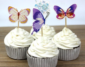 24 pc Colorful Butterflies Party Supplies Cardboard Cupcake Toppers - 4 assorted Designs with wooden sticks CB040418