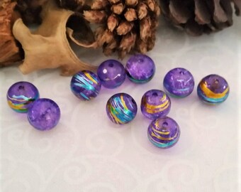 10 glass beads Crackle, purple with touches of gold, green, blue, original 8 mm