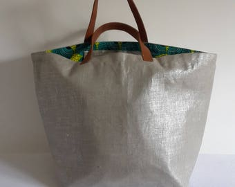 Great shopping bag XXL canvas and Wax / leather handle / beach bag / shoulder or arm holder