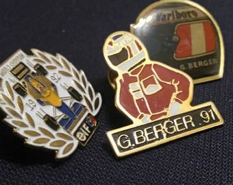 Berger , vintage lot 3 Pins . 1991 , 92 . F1