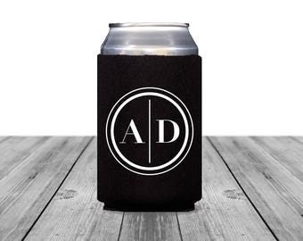 Neoprene Can Coolers, Personalized Coolies, Black Tie Wedding, Custom Hugger, Wedding Can Coolers, Wedding Monogram, Wedding Logo, 1322