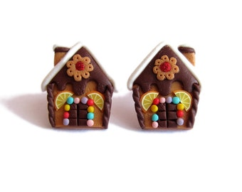 Funny Earrings, Christmas Jewelry, Chocolate Gingerbread House Earrings, Polymer Clay Earrings, Miniature Food Earrings Jewelry, Girls Gifts