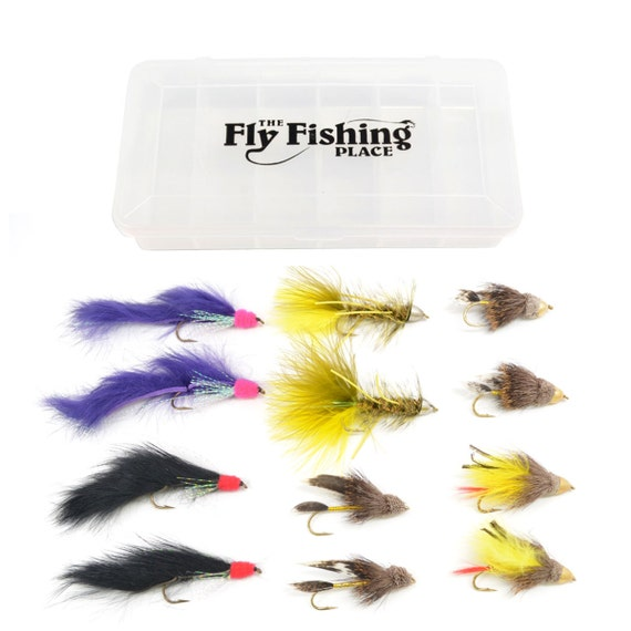 Cone Head Streamers Trout and Bass Fly Fishing Flies Assortment with Fly Box - 2 Each of 6 Patterns - Hook Size 4 - Fly Fishing Gift Set