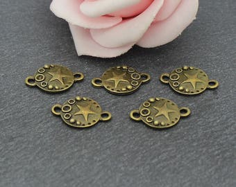 10 round connectors and star in the Center brass 16 x 11 mm COB214