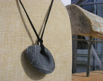 Irish Hag Stone Pendant Necklace